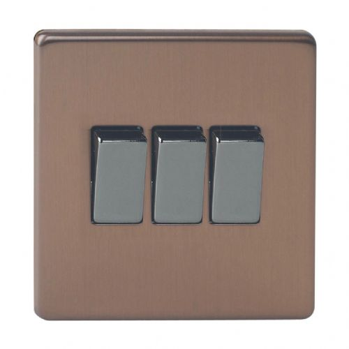 Varilight XDY3S.BZ Screwless Brushed Bronze 3 Gang 10A 1 or 2 Way Rocker Light Switch